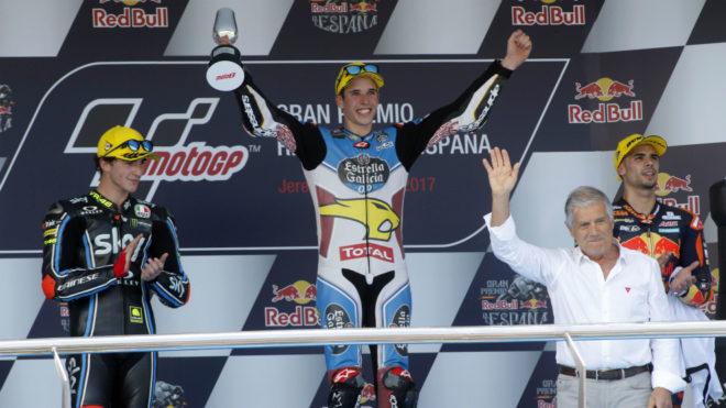 Álex Márquez, en el podio de Jerez.