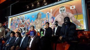 Parte del Mural que fue inaugurado en la Arena México.