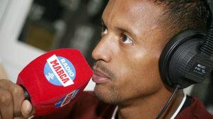 Luis Nani atiende a Radio MARCA Valencia en la Ciudad Deportiva de...