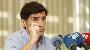 Marcelino explicando su salida de Villarreal en un hotel de Madrid.