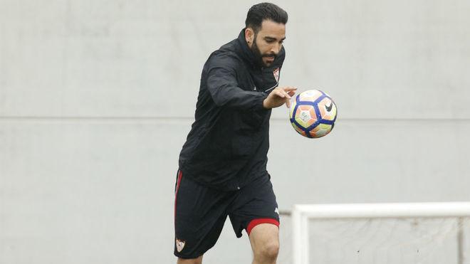 Rami, en un entrenamiento con el Sevilla.