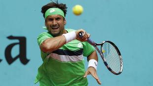 David Ferrer durante su partido ante Kei Nishikori en Madrid.