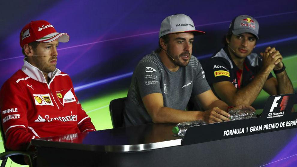 Vettel, Alonso y Sainz en rueda de prensa