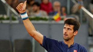 Novak Djokovic celebra su triunfo sobre Feliciano L�pez.
