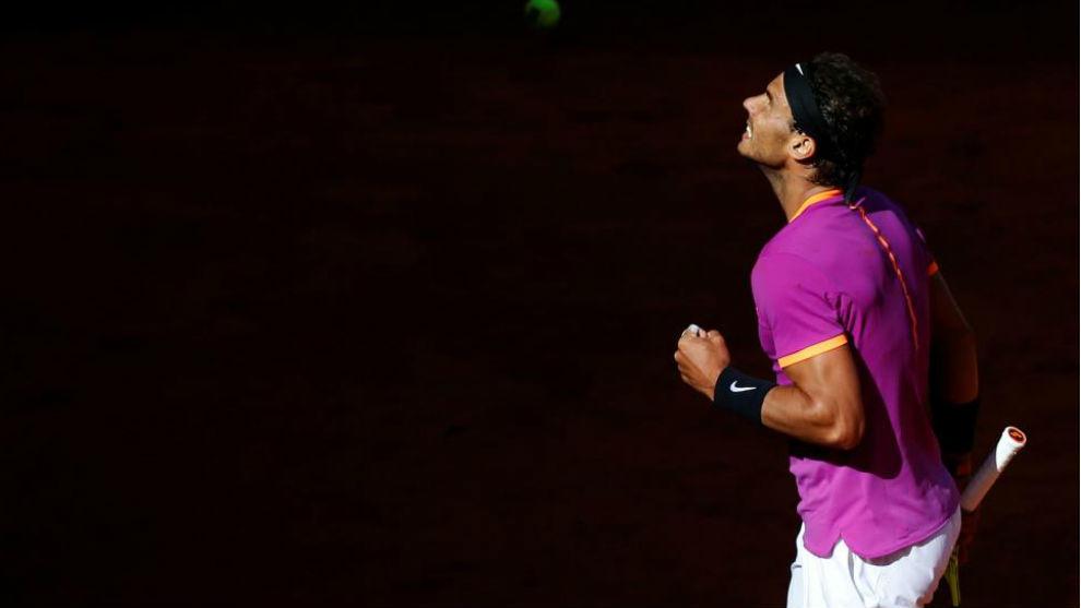 Rafael Nadal celebra una victoria en la Caja Mágica.