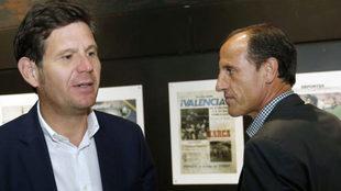 Mateu Alemany y Voro tras una rueda de prensa
