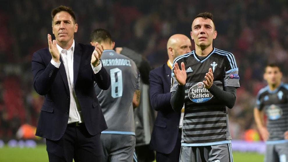 Aspas y Berizzo tras la vuelta de semifinales de Europa League