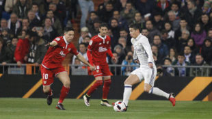 James, en el partido de Copa frente al Sevilla.