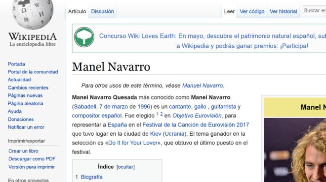 Trolean La Página De Wikipedia De Manel Navarro Y Ponen Que Es