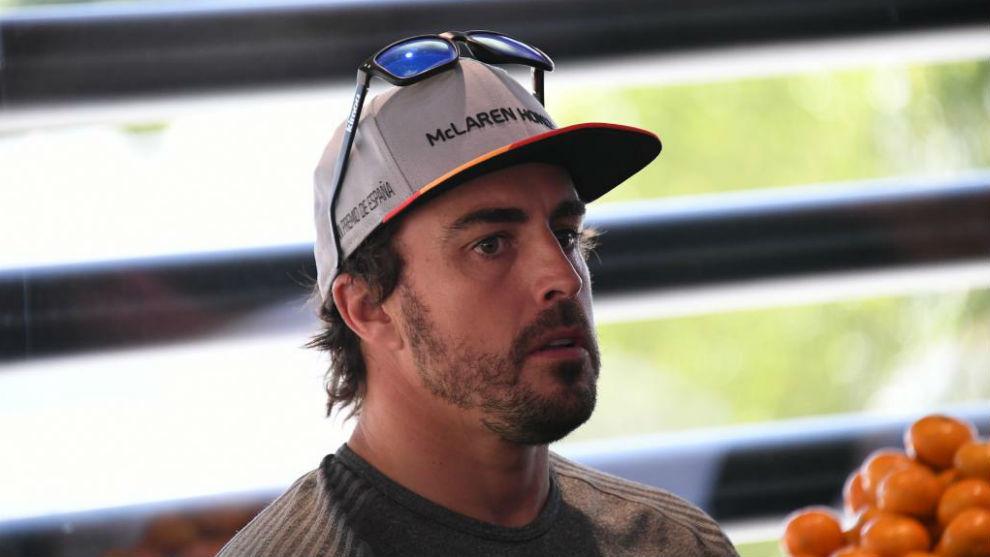 Fernando Alonso, en la reunión con la prensa tras la clasifciación