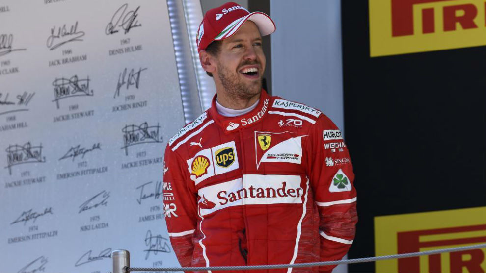 Vettel, en el podio del GP de España