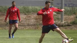 Soriano, durante un entrenamiento del Huesca durante  la semana pasada