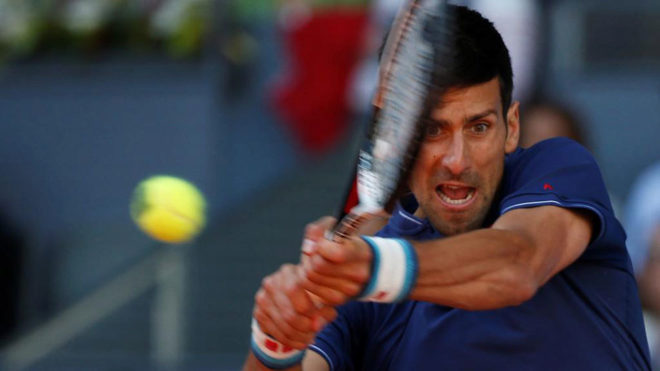 Novak Djokovic en las semifinales del Mutua Madrid Open ante Nadal.