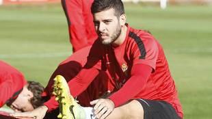 V�ctor Rodr�guez, durante un entrenamiento del Sporting esta...