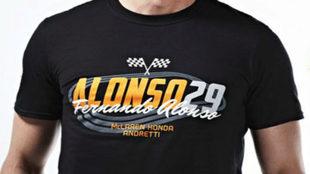Frontal de la nueva colección camisetas de Alonso para la Indy 500.