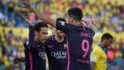 El tridente de Bar�a celebra un tanto ayer domingo contra Las Palmas