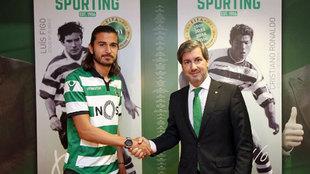 Imagen de la presentación de Mattheus como jugador del Sporting