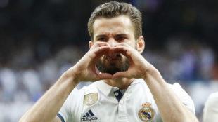 Nacho celebrando el gol ante el Sevilla.