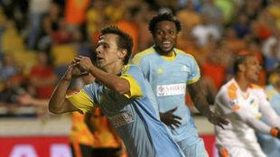 Maksimovic celebra un gol con el Astana en la pasada Champions.