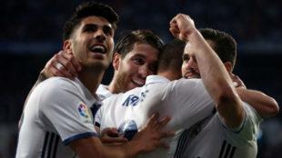 Los jugadores del Madrid celebran un gol esta temporada