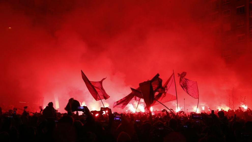 Aficionados en un Celta-Real Madrid