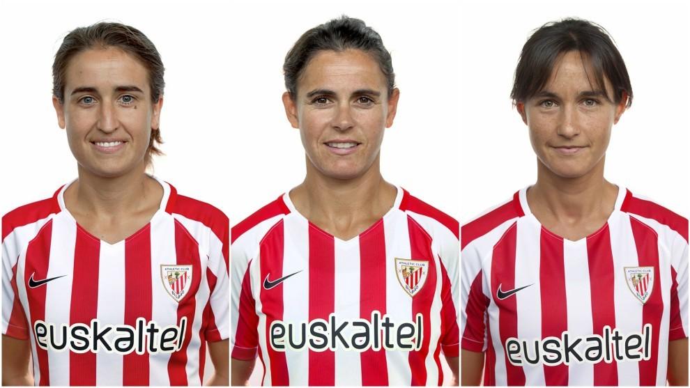 Iraia Iturregi, Eli Ibarra e Irune Murua posan para el club.