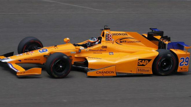 Alonso, con el Andretti McLaren Honda número 29 en Indianápolis.