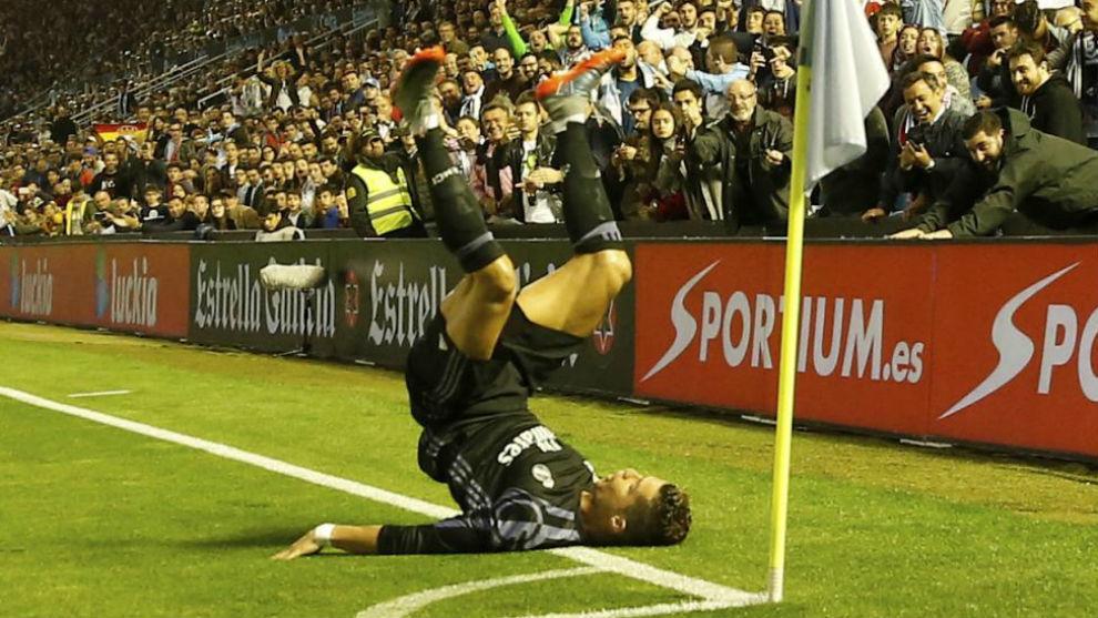 Cristiano celebrando el 0-2 en Balaídos