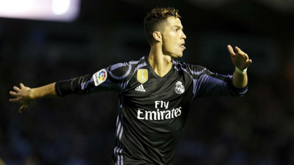 Cristiano celebra un gol en Balaídos