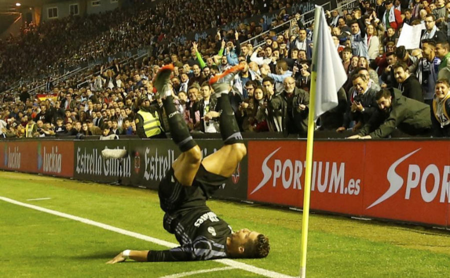 Cristiano Ronaldo celebra uno de sus goles frente al Celta de Vigo
