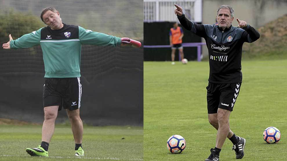 Anquela y Herrera, durante sendos entrenamientos de Huesca y...