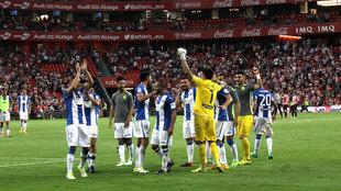 Jugadores del Leganés celebrando en San Mamés