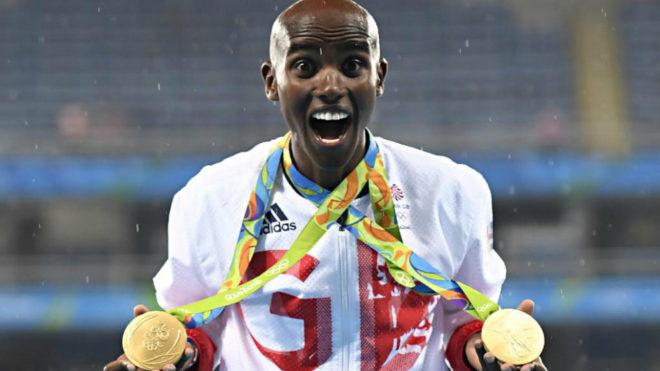 Mo Farah con los dos oros logrados en los Juegos de Rio.