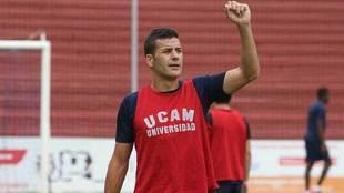 Fran Pérez, durante un entrenamiento del equipo universitario esta...