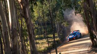 Sordo y su Hyundai, en el tramo de pruebas del Rally de Portugal.