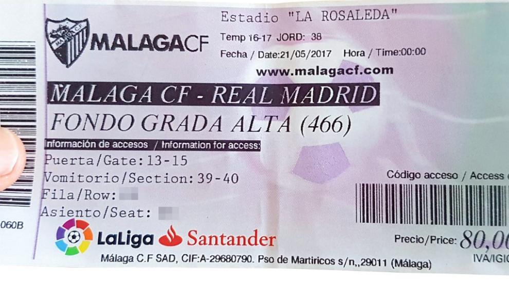 Entrada para el Málaga-Real Madrid del domingo.