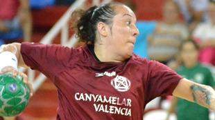 Patricia Alonso durante un partido con el Canyamelar