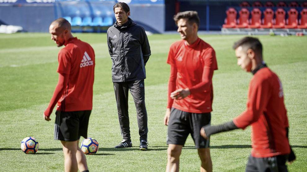 Los jugadores de Osasuna durante un entrenamiento