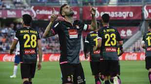 Leo Baptistao celebra el 0-1 en Los Cármenes.