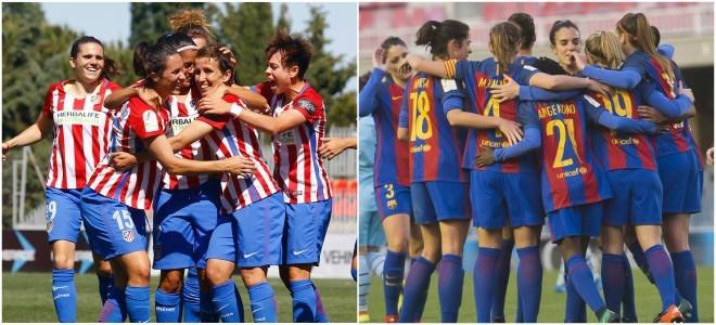 Jugadoras del Atlético de Madrid y Barcelona celebrando goles en...