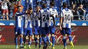 El Deportivo celebra un gol en RIazor