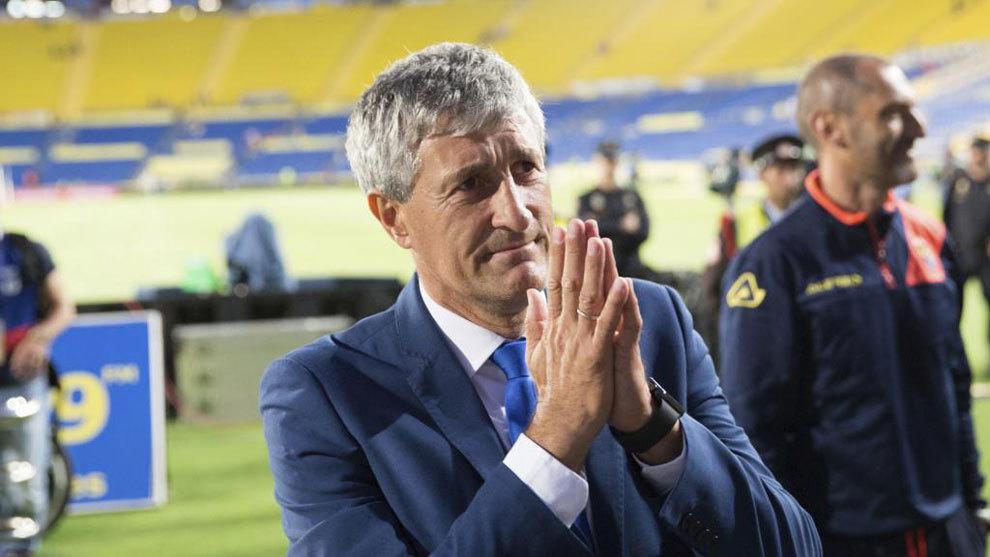 Setién en su último partido con Las Palmas