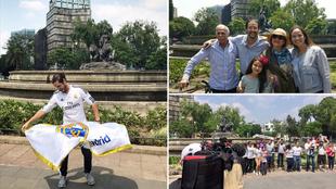 Aficionados del Real Madrid en México con la Fuente de Cibeles de...