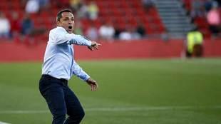 Un gesticulante Sergi durante el partido de su equipo ante el Almería