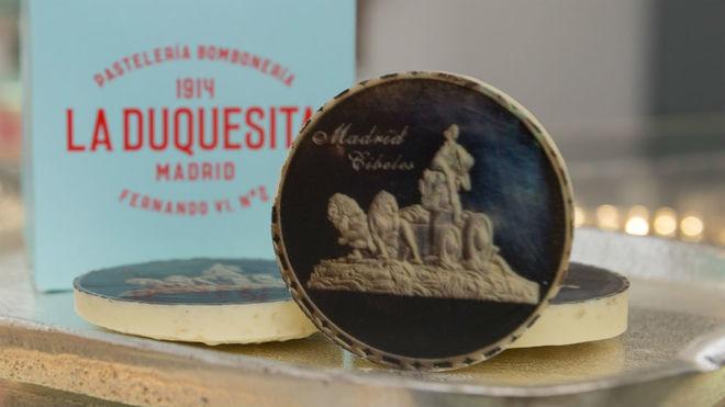 La medalla de chocolate, con la imagen de La Cibeles