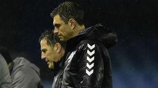 Los argentinos Berizzo y Pellegrino, tras el Celta-Alavés de Copa.