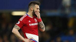 Negredo durante un partido en la Premier League.