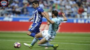 Manu García en un partido contra el Celta