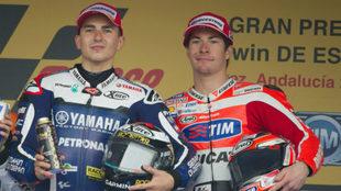 Jorge Lorenzo, junto a Nicky Hayden.
