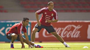 Marco Fabián y Javier Hernández